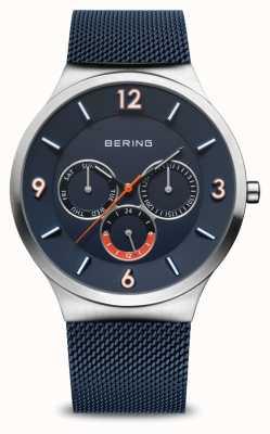 Bering 男士经典|拉丝银|蓝色网眼表带|蓝色表盘 33441-307