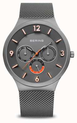 Bering 男士经典|拉丝灰色|灰色网眼表带| 33441-377