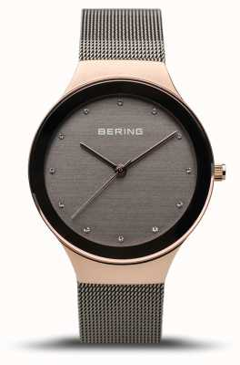 Bering 女装经典|抛光玫瑰金|灰色网带 12934-369