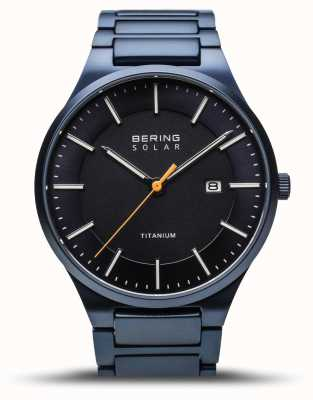 Bering 男士钛|拉丝蓝色|蓝色钛金属表带 15239-797