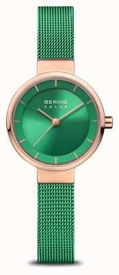Bering 妇女慈善事业|抛光/磨砂玫瑰|绿色网眼带 14627-CHARITY