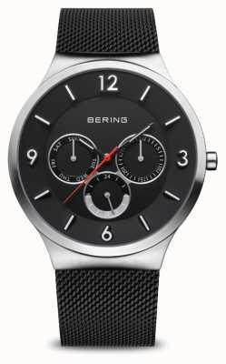 Bering 男士经典|拉丝银|黑色网眼手链 33441-102