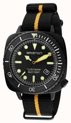 Briston Clubmaster潜水员专业版|黑色/黄色北约表带|黑色表盘 20644.PBAM.B.34.NBY