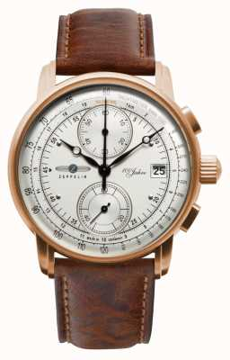 Zeppelin |男士100年计时码表|棕色皮革表带| 8672-1