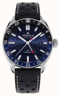 Alpina Alpiner石英gmt |蓝色表盘|黑色皮革表带 AL-247NB4E6