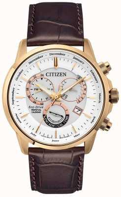 Citizen 男士表带万年历玫瑰金棕色皮革表带手表 BL8153-11A