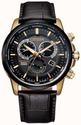 Citizen 男士表带万年历黑色和玫瑰金黑色皮革手表 BL8156-12E