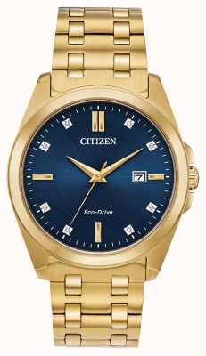 Citizen 男士Corso Eco Drive钻石金ip蓝色表盘腕表 BM7103-51L