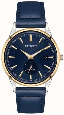 Citizen 男士皮带生态驱动不锈钢金色ip蓝色皮革皮带手表 BV1114-18L