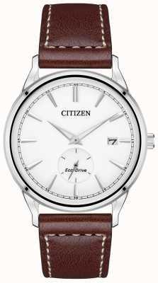 Citizen 男士皮带生态驱动不锈钢棕色皮革表带手表 BV1119-14A