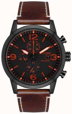 Citizen 男士运动型生态驱动黑色ip棕色皮革表带手表 CA0617-11E