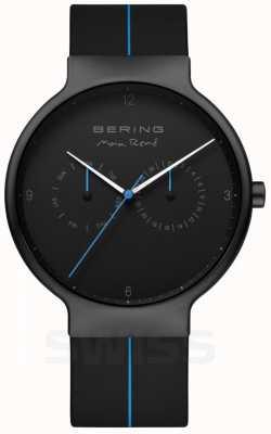 Bering 男士Max Rene |黑色硅胶表带|黑色/蓝色表盘 15542-428