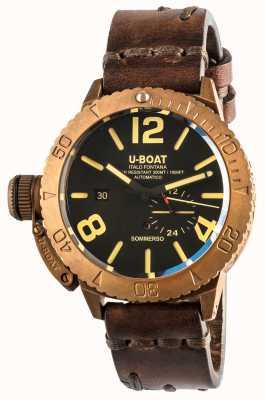 U-Boat Sommerso 46古铜色自动棕色皮革表带 8486