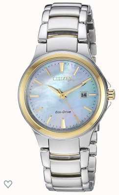Citizen 女士剪影环保型驱动器珍珠母不锈钢和玫瑰金ip手表 EW2524-55N