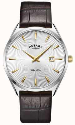 Rotary 男士超薄|深棕色皮革表带|银色表盘 GS08010/02