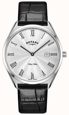 Rotary 男士超薄|黑色皮革表带|银色表盘 GS08010/01