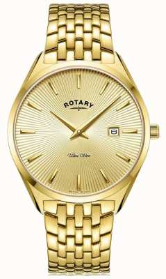 Rotary 男士超薄|镀金钢手链|金表盘 GB08013/03