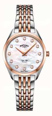 Rotary 超薄女士两音珍珠母手链手表 LB08012/41/D