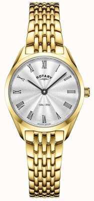 Rotary 女士超薄|镀金钢质手表|银色表盘 LB08013/01