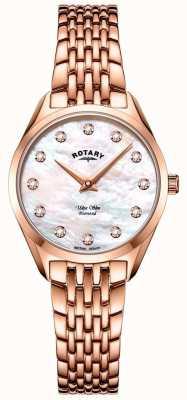 Rotary 超薄女士玫瑰金手链手表 LB08014/41/D
