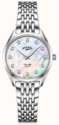 Rotary 女士超薄|不锈钢手链|钻石珍珠贝母表盘 LB08010/07/D
