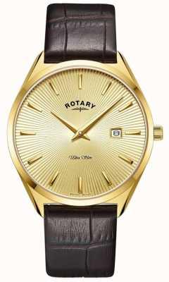Rotary 男士超薄|棕色皮革表带|镀金pvd盒 GS08013/03