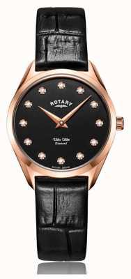 Rotary 超薄女士玫瑰金钻石手表 LS08014/04/D