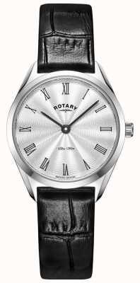 Rotary 超薄女士银色皮革手表 LS08010/01