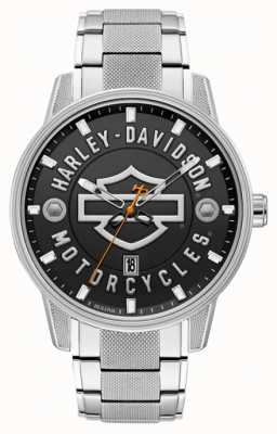 Harley Davidson 男人适合他! |不锈钢手链|黑色表盘 76B182