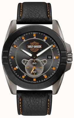Harley Davidson 男人适合他! |黑色皮革表带|灰色表盘 78B182