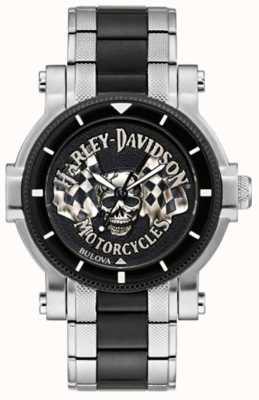 Harley Davidson 男士头骨和旗帜|两音钢手链|黑色表盘 78A124