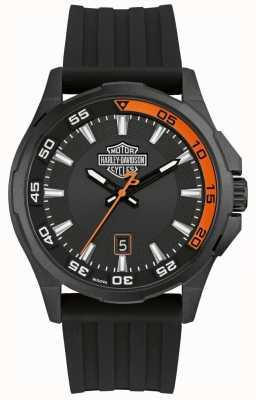 Harley Davidson 男士仪表盘|黑色硅胶表带|黑色表盘 78B140