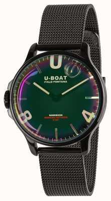 U-Boat 暗月38毫米|黑色网眼手链|彩虹表盘 8470/MT