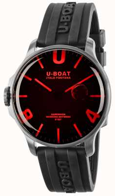 U-Boat Darkmoon 44毫米红色玻璃黑色橡胶表带 8465
