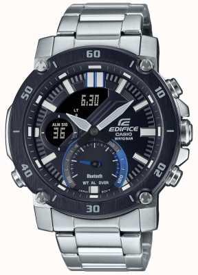 Casio 大厦|不锈钢手链|黑色/蓝色表盘| ECB-20DB-1AEF
