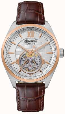 Ingersoll 谢尔比自动棕色皮革表带银色表盘 I10901