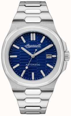 Ingersoll 卡塔琳娜蜂窝织纹蓝色表盘精钢表链 I11801