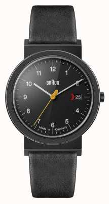 Braun 男士经典黑色皮革表带黑色表盘黑色细节 AW10EVOB
