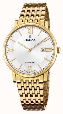 Festina 男士瑞士制造|镀金钢手链|银色表盘 F20020/1