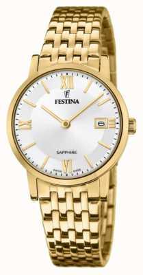Festina 女士瑞士制造|镀金钢手链|银色表盘 F20021/1