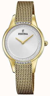 Festina 女士镀金钢网手链|银色水晶表盘 F20495/1