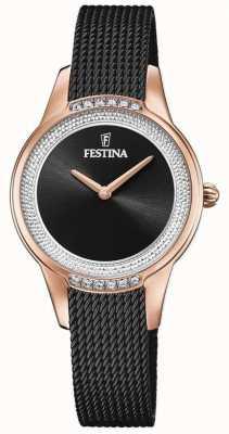 Festina 女士黑色钢网手链|黑色水晶表盘 F20496/2