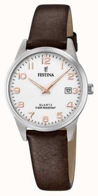 Festina 女士棕色皮革表带|白色表盘 F20510/1