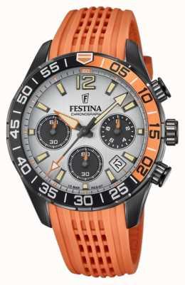 Festina 男士计时码表|橙色硅胶表带|灰色表盘 F20518/1