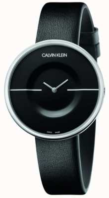 Calvin Klein 躁狂症|女式黑色皮革表带|黑色表盘 KAG231C1