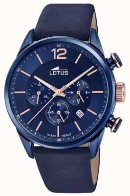 Lotus 男士蓝色皮革表带|蓝色计时码表盘 L18681/2
