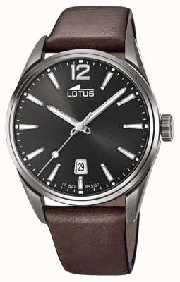 Lotus 男士棕色皮革表带|黑色表盘 L18685/1