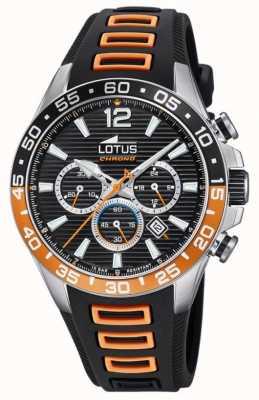 Lotus 男士黑色/橙色硅胶表带|黑色计时码表盘 L18697/1