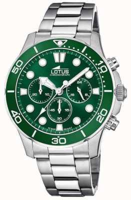 Lotus 男士不锈钢手链|绿色计时码盘 L18756/2
