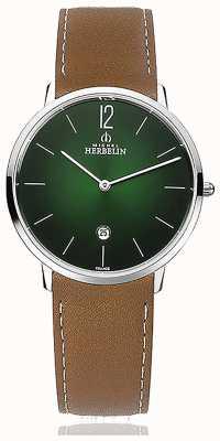 Michel Herbelin 城市|男士棕色皮革表带|绿色表盘 19515/16NGO